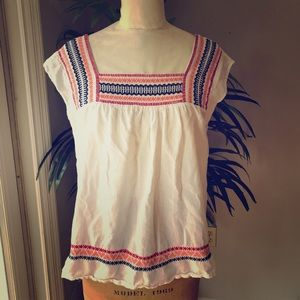 Loft cheesecloth embroidered blouse size M